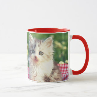 Two Kittens Sitting On A Red-Colored Blanket Mug