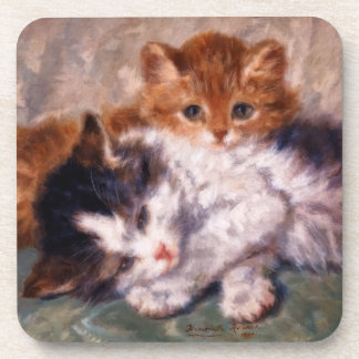 Two Kittens Snuggle by Henriëtte Ronner-Knip Coaster