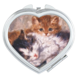 Two Kittens Snuggle by Henriëtte Ronner-Knip Compact Mirror