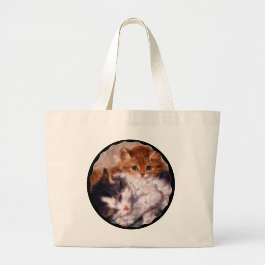 Two Kittens Snuggle by Henriëtte Ronner-Knip Large Tote Bag