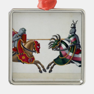 Two knights at a tournament, plate from 'A History Christmas Ornament