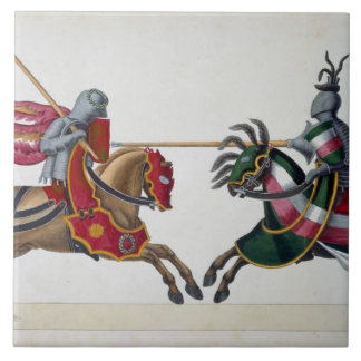 Two knights at a tournament, plate from 'A History Large Square Tile