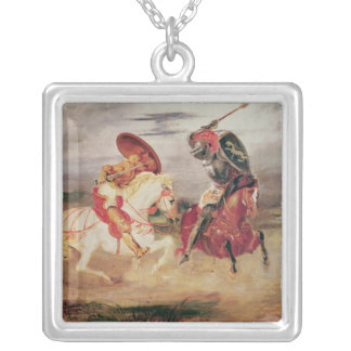 Two Knights Fighting in a Landscape, c.1824 Silver Plated Necklace