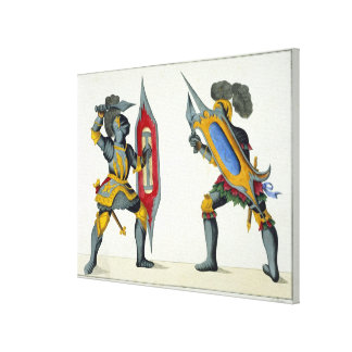 Two knights fighting, plate from 'A History of the Canvas Print
