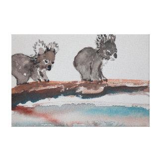 Two Koala Watercolor Canvas Prints