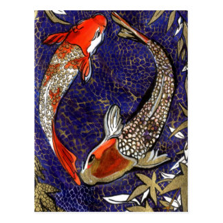 two koi postcard