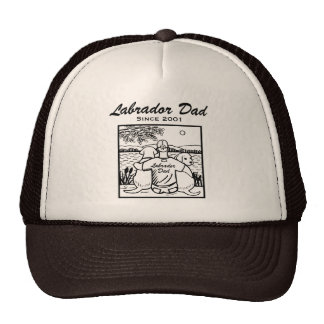 Two Labradors and Dad Cap