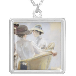 Two Ladies by the Water Silver Plated Necklace