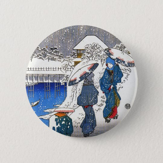 Two ladies conversing in the snow, Ando Hiroshige 6 Cm Round Badge