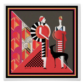 Two Ladies with a Dog Art Deco Poster 12 x 12