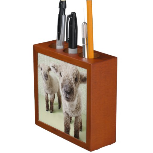 Two Lambs Indoors with Floral Wallpaper Pencil/Pen Holder