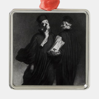 Two Lawyers, c.1862 Silver-Colored Square Decoration