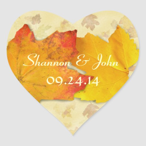 Two Leaves Fall Wedding Custom Sticker