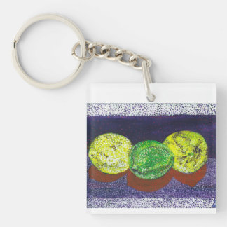 Two Lemons  And A Lime  Designer Keychain