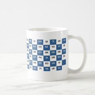 Two letter words mug Blue and white US version