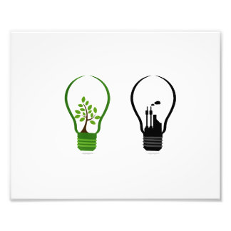 two lightbulbs one eco one black city.png photograph