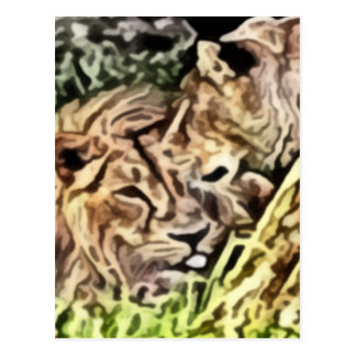 two lions painting postcard