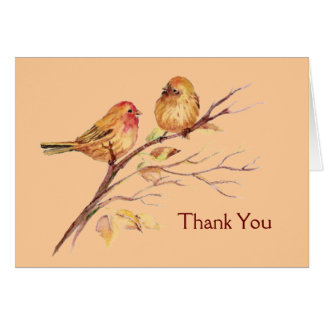 Two Little Bird Sparrows Peach Brown Rustic Nature Greeting Card