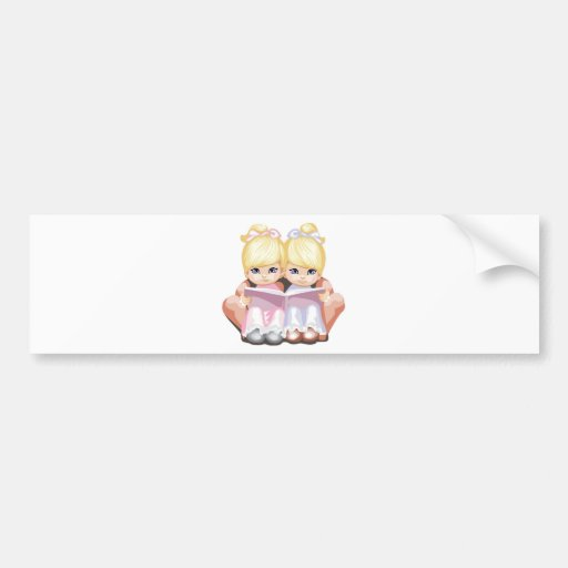 Two Little Blue Eyed Girls in Pink Bumper Stickers