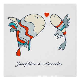 Two Little Fish Love Personalised Poster