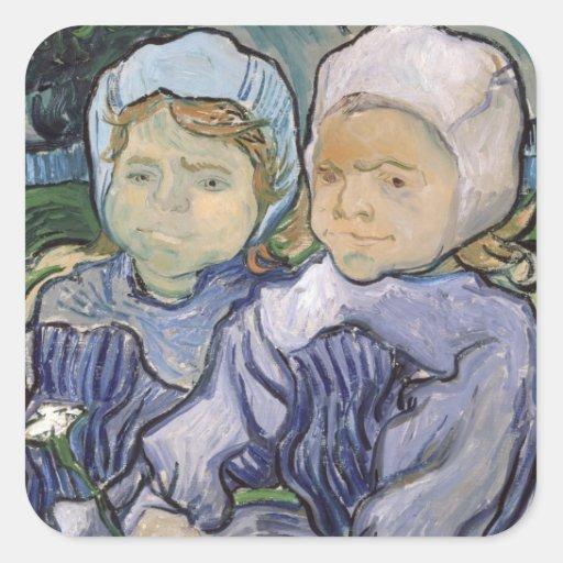 Two Little Girls, 1890 Sticker