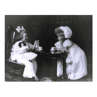 Two Little Girls at a Tea Party Postcard