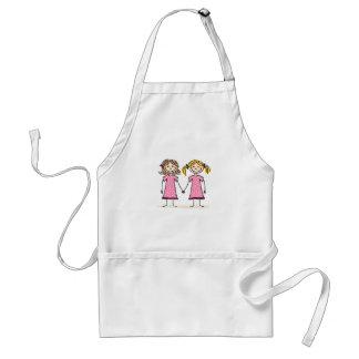 Two little girls holding hands standard apron