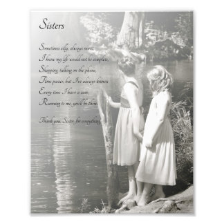 Two Little Girls Sisters Thank You Poem Print Art Photo