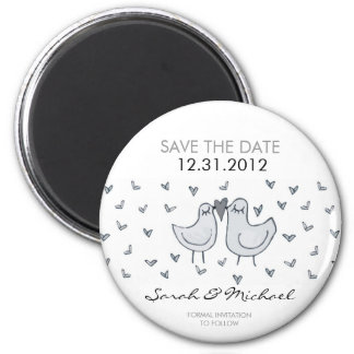 two little kissing birds STD 6 Cm Round Magnet