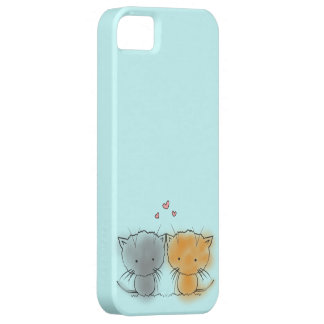 Two Little Kittens Illustration Orange and Grey iPhone 5 Cases