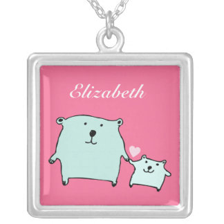 Two Little Love Bears Pink Necklace