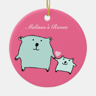 Two Little Love Bears Pink Ornament (Circle)