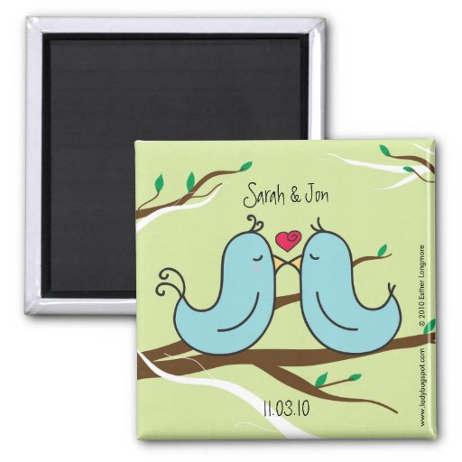 Two Little Love Birds Kissing Magnet / Your Name