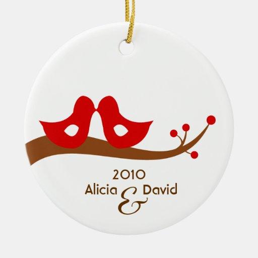 Two Little Lovebirds Christmas Tree Ornament