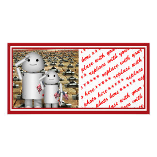 Two Little Patriotic Robots with Lots of Tanks Custom Photo Card