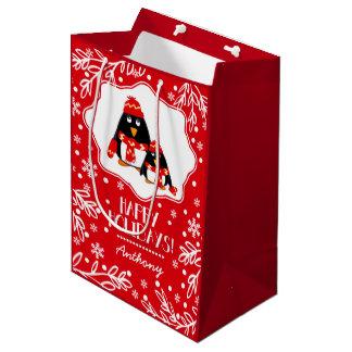 Two Little Penguins Custom Name Christmas Gift Bag