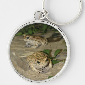 Two little toads - green frogs key chain
