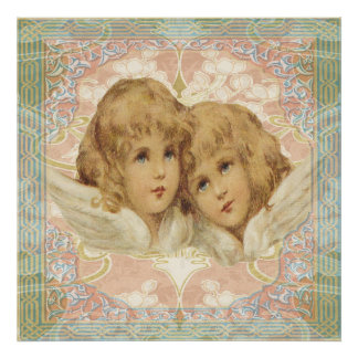 Two Little Vintage Angels Poster