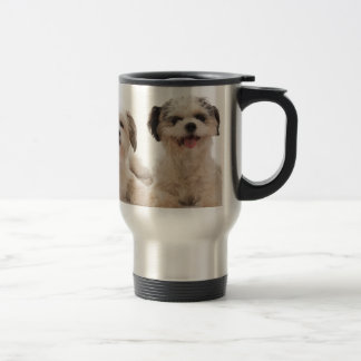 Two located dogs stainless steel travel mug