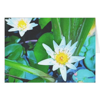 TWO LOTUS FLOWERS GREETING CARD