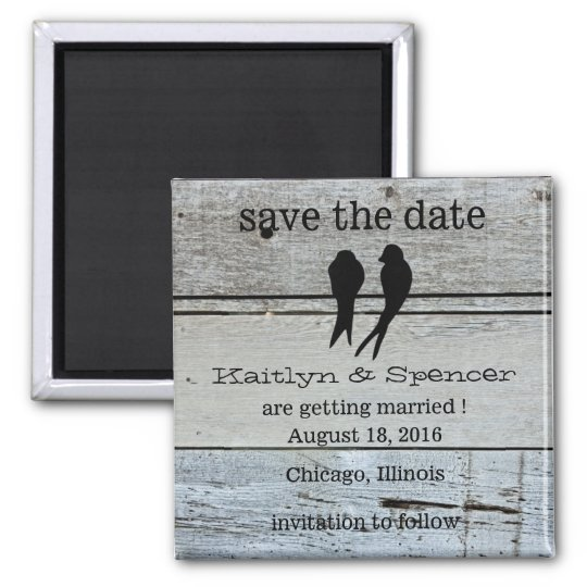 Two Love Birds Rustic Wood save the date