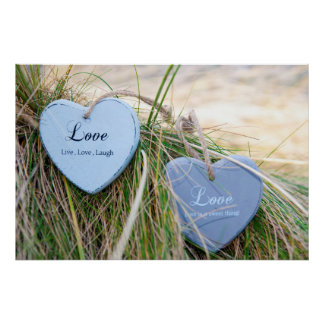 two love hearts on grassy dunes posters