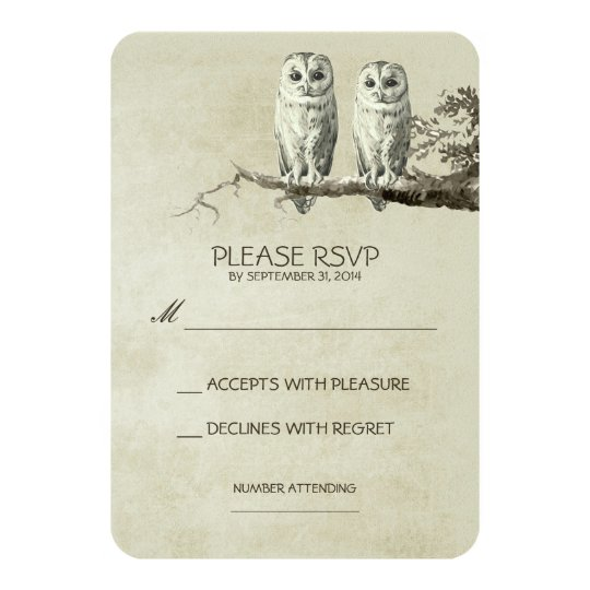 TWO LOVELY OWLS RUSTIC WOODLAND RSVP CARDS