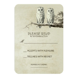 TWO LOVELY OWLS RUSTIC WOODLAND RSVP CARDS 9 CM X 13 CM INVITATION CARD
