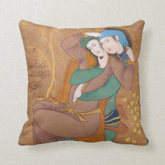 Two Lovers by Reza Abbasi (1630) Cushion