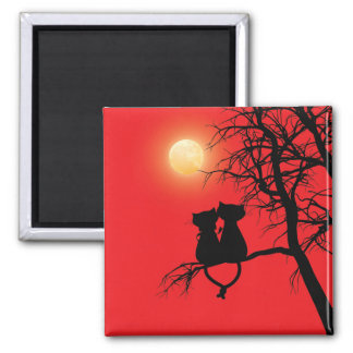 Two Lovers Cat 2 inch Square Magnet