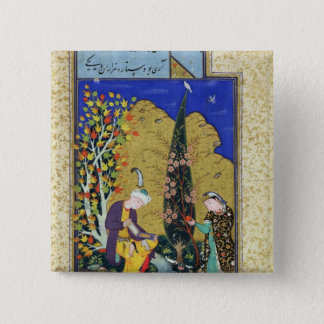Two Lovers in a Flowering Orchard 15 Cm Square Badge