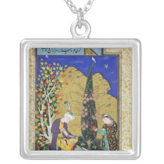 Two Lovers in a Flowering Orchard Silver Plated Necklace