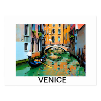 Two lovers in a Venice, Italy gondola. Postcard