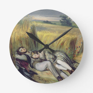 Two lovers Lying in a Cornfield (litho) Round Clock